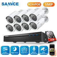 SANNCE Ultra HD 5MP Security IP Camera System 8CH NVR Home Microphone Audio 2TB
