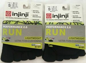 Injinji XtraLife Mens Lime Spectrum Original 2-Pack No Show RUN Socks Sz SMALL