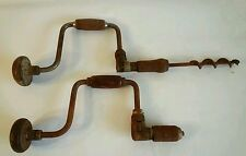 Pair of Old Vintage-Ratchet Hand Drill auger Bit Brace Vintage Condition