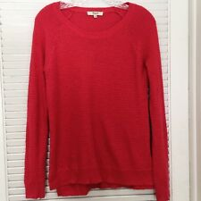 Madewell Women's Pullover Knit Sweater Red Scoop Neck High Low Cotton Blend XS