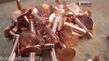 "50 x 8g x 1"" HOSE SOLID COPPER FLAT HEAD RIVETS LARGE HEAD 4mm x 25mm 8g"