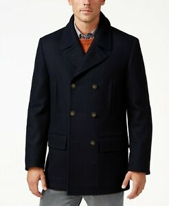 New RALPH LAUREN Wool Blend Naval/Military Pea Coat Quilted Lining Navy Blue