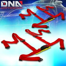 Universal Jdm Pair X2 Sets 4 Point Red Racing Harness Seat Beltbelts Mounting