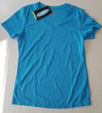 Tesla Performance Surfista Rashguard T-Shirt V-Neck Aqua  Blue Women Small