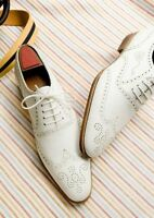 Handmade men fashion wingtip brogue white leather shoes, Men white dress shoes