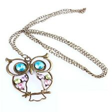 Vintage Owl Necklace Chain Quirky Fashion Costume Jewellery Gift Bronze Womens