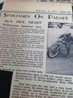 m1-5 ephemera 1949 Picture Article Speedway Star Dick Geary Walthamstow