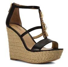 f0ad2e0c5b8f1 Women s Michael Kors SUKI WEDGE Platform Sandals Leather Chain Charm Black  10