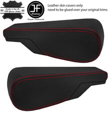 RED STITCH 2X SEAT ARMREST REAL LEATHER COVERS FITS VW TYPE 3 T3 MULTIVAN