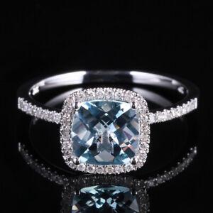 Solid 10K White Gold Cushion Cut Aquamarine Diamond Wedding Ring Prong Setting