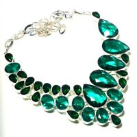 """Beguiling Chrome Diopside,Green Topaz Gemstone Ethnic Style Necklace Jewelry 18"""""""