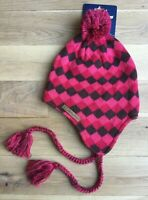 *New* Berghaus Girls Women Andes-Style Diamond Knitted Beanie Hat,Pink, One Size