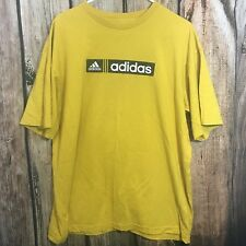 adidas Men's Casual Sport T shirt Short Sleeve Mustard Color Size L 100% Cotton