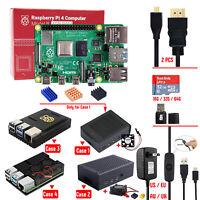 Raspberry Pi 4B 2G 4G RAM Aluminum-alloy Metal Case Optional Kit + 5V 3A Power