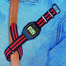 Modified Casio F-91W Watch (Gold detail) on a Red and Black Nylon Nato Strap
