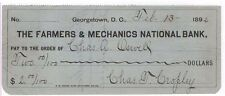 1892 Check, THE FARMERS & MECHANICS NATIONAL BANK, Georgetown, D. C.