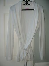 Lilly Pulitzer Belted Wrap Sweater Cotton Cashmere Off White M