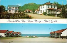 Motel Hotel Bleau Blanc Rouge Perce QC Que Multiview Vintage Postcard D48