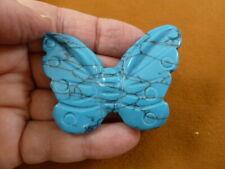 (Y-But-711) blue Howlite Butterfly figurine gemstone carving love butterflies