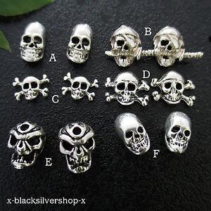 Totenkopf Ohrringe Ohrstecker Silber 925 1 Paar Pirat Schädel Skull Biker Metal