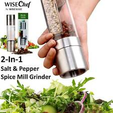 Salt & Pepper Grinder 2in1 Dual Mill Set Adjustable Ceramic Coarseness Freshness