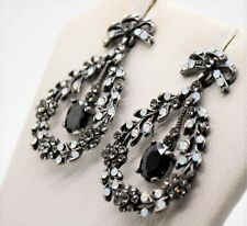 Exquisite Black Alloy BD Rhinestone party Chandelier Dangle Fashion Earring A295