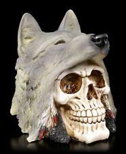 Totenkopf - Indianer mit Wolfskopf - Gothic Fantasy Totenschädel Deko