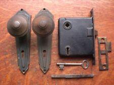 Antique Vintage Retro Door Set - Plates, Doorknobs, Lock, Key & Keeper c1900