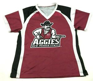 Vintage Neuf Mexico State Aggies Jersey Taille M Rouge Noir Double Face T-Shirt