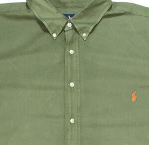 Polo Ralph Lauren Men's Olive Green Long Sleeve Button Front Shirt Sz 3XB