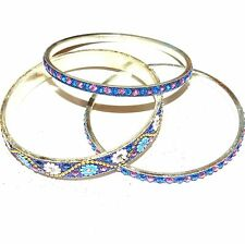 "BR494f Blue & Silver 20mm Flowered Aluminum 3 Bangle Bracelet Set 2.75"" Inside"