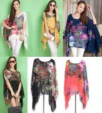 Women Summer Beach Drapes drop Top Blouse Shirt Chiffon Plus Size 8-18 Elegant