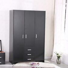 Black Solid Plain Wardrobe 3 Doors Hanging Rail Top with 3 Drawers Bedroom Unit