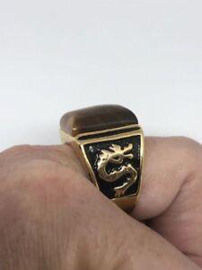 Vintage Gold Stainless Steel Genuine Tiger's Eye Size 9 Dragon Men's Ring
