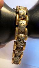 "Bracelet - Damascene Toledo Spain - Vintage - 7-1/2"" Long - Links - Safety Chain"