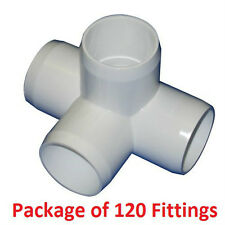"1"" Furniture Grade 4-Way Side Outlet Tee PVC Fitting - 120 Pack"