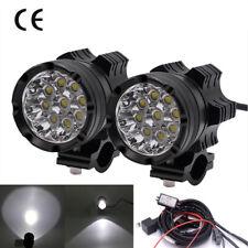 2x Universal 9 LED Headlight Fog Spot Light Waterproof Motorcycle ATV Dirt Bike