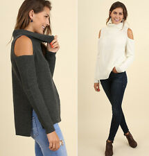 M L Womens UMGEE Turtleneck Cold Shoulder Knit Tunic Sweater Long Sleeve Cream