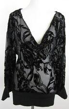 NWT! Cache Drapeneck Burnout Sheer Rose Silk Blend Top Size M $138.00