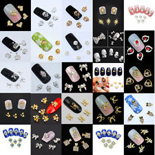 10 x New 3D Nail Art Charms, Bow, Skull, Crown, Alloy Rhinestone Gems, UK Seller