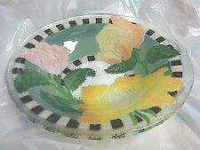 Pretty & Perfect Fused Glass Bowl w/ Pink & Yellow Roses