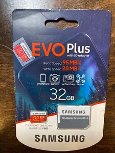 New SAMSUNG EVO Plus 32GB MicroSD / SDHC C10 Flash w/ SD Adapter FHD