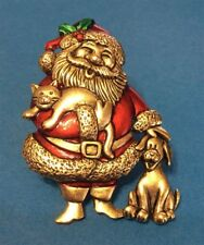 Santa W/ Cat & Dog Friends Brooch Pin Jonette Original!