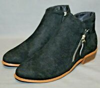"FASHION BOOTS womens round toe side zip 1.5"" heel ankle boots size 9 M black NEW"