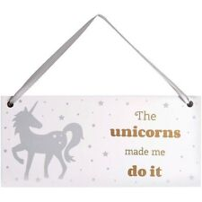 Unicorn Door Sign - 9 x 20 cm - The Unicorns Made Me do it – Girls Gift Plaque