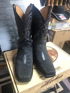 Lucchese CLASSICS HANDMADE SIZE 11EE WIDE BLACK stingray Cowboy SQUARE TOES