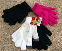 Girls Black White Pink Joe Boxer Texting Gloves 4 Pair