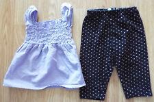 Girl's Size 12 M Month 2 Pc Purple Hippototamus Cinch Top, Black Lily Bleu Pants