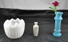 Lot of 3 Milk Glass Vases Short Ruffled Top Small Painted Flowers & Blue X6G3