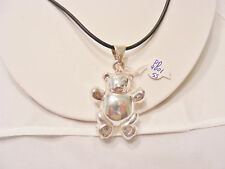 Teddy Bear Pendant, Solid 925 Sterling Silver on a black non metal chain